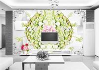 ingrosso casa di carta da parati di loto-Personalizzato 3D Photo Wallpaper Murale Soggiorno Camera da letto Divano TV Sfondo murale Acqua verde Fiore Lotus Picture Wallpaper Sticker Home Decor