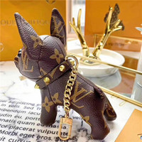 ingrosso catena d'oro francese-2019 portachiavi bulldog francese moda maschile e femminile portachiavi accessori per borsette portachiavi scatola regalo di marca