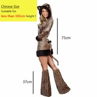 Wholesale leopard cat woman costume for sale - eopard costume Sexy Halloween Leopard Costume For Women Animal Cat Cosplay Long Sleeves Hoodied Dress Performance Party Clubnight Suit Ad