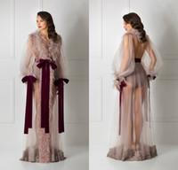 gelin kadın iç çamaşırı kadınları toptan satış-Dantel Gelin Bornoz Tüy Tam Boy Lingerie Gecelik Pijama Pijama kadın Lüks Sabahlıklar Housecoat Gecelikler Salon Aşınma