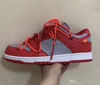 Wholesale gold shoelaces for sale - Group buy 2019 Release Off SB Dunk Low x White Leather University Red Wolf Grey CT0856 Pine Green CT0856 University Gold CT0856 Shoelaces