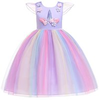 Wholesale baby cosplay online - kids Unicorn dress girls lace sleeveless dress children clothes kids designer princess skirts baby Cosplay dresses KKA6617