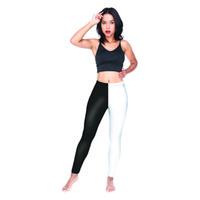 perneiras brancas venda por atacado-Meninas Leggings Perna Preta Perna Branca 3D Impressão Digital Completa Treino Yoga Desgaste Calças Mulheres Comprimento Completo Jeggings Senhora Stretchy Calças (Y54527)