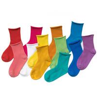 calcetines de niña de colores al por mayor-1-12T Calcetines de algodón para niños Calcetines suaves y transpirables para bebés y niños Calcetines sólidos y casuales para niños Calcetines coloridos de moda HHA528