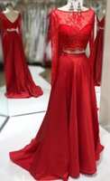 Wholesale silver photo charms resale online - Charming Red Pieces Real Photo Prom Evening Dress Formal Gowns Jewel Neck Lace Long Sleeves V Backless Satin Cheap Pageant Celebrity Dress