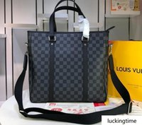 Wholesale handbags men design leather resale online - new Business luxury design Leisure man Genuine Leather handbag top size cm