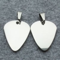 Wholesale fashion guitar pendant for sale - Group buy 100pcs Stainless Steel Dog Tags Guitar Pick Shaped Pet Dog ID Tags Fashion Pendants