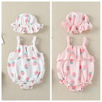 Wholesale strawberry girls clothing for sale - Group buy Cute Clothes Girls Romper Strawberry Print Summer Triangle Sleeveless Princess Climbing Clothes Sun Hat Two Pieces Set Kids Jumpsuits CZ324