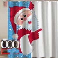 kanca duş perdesi toptan satış-kancalar Kardan Adam Santa ren geyiği Duş polyester su geçirmez Banyo Banyo / Tuvalet Perdeler 150 * 180cm LJJK1881 Noel Duş Perde