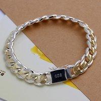 Wholesale thick silver chain bracelets for sale - Group buy Men s Jewelry bracelet Plated Silver mm wide cm golden thick fine fashion bracelet Pulseiras de Prata male modle Bijoux