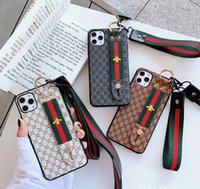 Wholesale iphone wrist strap resale online - Cell Phone Cases For iPhone PRO MAX X XR XS Imitation Leather Mobile Phone Case With Lanyard And Wrist Strap