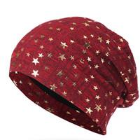 вязаные звезды оптовых-Women Stars Casual Knitted Hat Bonnet Covers Skullcap Cap Stacking