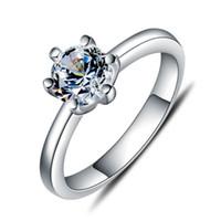 ingrosso imitazione di diamanti porcellana-Anelli solitari romantici di nozze per le donne 925 reale dell'argento sterlina dei monili bijoux di 1ct dell'argento sterlina dei monili Cina