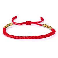 буддийские браслеты оптовых-19 Colors Tibetan Buddhist Love Lucky Charm Tibetan Bracelets & Bangles For Women Men Handmade Knots Rope Budda Bracelet