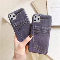 iphone jeans case toptan satış-Iphone 11 Pro Vaka INS Lüks Jeans İpek Tabanlı Kaymaz Iphone Xr için telefon kılıfı telefon Kılıfları hissedin 7 8 6 6s Plus X Xs 11 Pro Max Vaka İçin