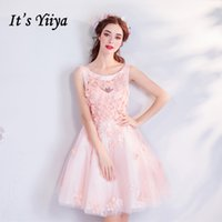 formales kleid sex großhandel-Es ist YiiYa Pink Cocktailkleider Oansatz Spitze Blumen Short Party Dress Lace up 2018 New Sex Über Knew Formal Dress