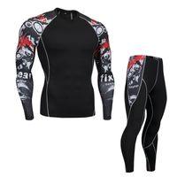 Wholesale jogging sport clothes for men resale online - Mens Sports Suits Compression Running Set Training Jogging Suit Workout Fitness Clothing Gym Sport Wear For Men Surf Rashguard
