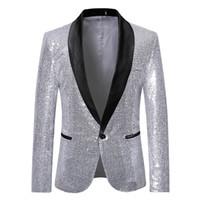abrigo de plata brillante al por mayor-Hombres New Gold Silver Sequin Blazers brillantes Chaqueta de traje Moda para hombres Club nocturno DJ Escenarios Fiesta de bodas Chaqueta de abrigo Abrigo