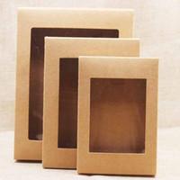 presente diy da caixa do bolo venda por atacado-DIY caixa de papel Com Indicador branco / preto / Kraft Paper Gift Box bolo de embalagem para Casamento Casa Partido Muffin Packaging