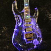 Wholesale guitar flower inlays for sale - Group buy Multicolor Full acrylic LED Light Electric Guitar Crystal Flower Inlay