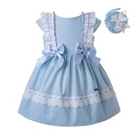 Wholesale neck bow for babies for sale - Group buy Pettigirl New Blue Baby Girl Designer Clothes With Bow Girls Casual Dress Kids Clothing for Newborn Girls G DMGD201 C144