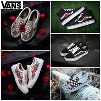 79707bc07c6 Wholesale roses embroidery for sale - 2019 VANS X AMAC Customs Women Men  Skateboarding Shoes Rose