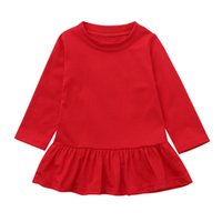 vestidos de princesa drop ship al por mayor-USPS baby girl baby boy Niño recién nacido Infant Girls Ruffles Solid Princess Dress Outfits 2019 envío de la gota regalo