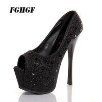 Wholesale women diamond open toe heels for sale - Group buy 16cm sexy one shoe stiletto waterproof platform diamond model banquet women s shoes Ultra high heel fish mouth shoes