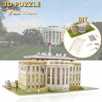 hobi evi toptan satış-Çocuk DIY El-Montajlı Yapı Maket Eğitim Hobiler Hediye Ev Dekorasyonu için karton Beyaz Saray Bulmacalar Oyuncak