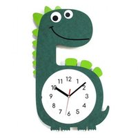 Wholesale dinosaurs room decor resale online - Cartoon Wall Clock Simple Dinosaur Kids Wall Art Clock Living Room Wood Design Silent Zegary Na Sciane animal home decor ZB