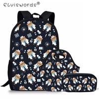 patrones de mochila para niños al por mayor-ELVISWORDS School Backpack Set Doctor Bear Pattern Girls Bookbags Niños Camuflaje Estudiantes Mochila Bolsa de hombro para niños