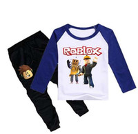 спортивные игры для мальчика оптовых-Roblox Game Print детская футболка + брюки 2 шт. 2019 весна принт детский хлопковый свитер для мальчика Одежда для девочек Спортивные комплекты
