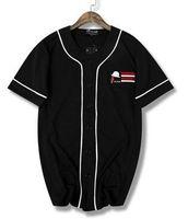camiseta de beisebol preto venda por atacado-2019 New Hip hop linha preto e branco de secagem rápida T-shirt uniforme de beisebol de manga curta jersey