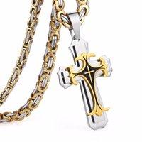 Wholesale bra pendants for sale - Group buy Stainless Steel Necklaces Pendants Gold Black Tone Fleur de lis Cross Pendant Necklace Long Byzantine Chain Men Jewelry NZ0047f97