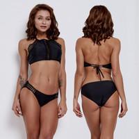 bikini kaplı siyah kadınlar toptan satış-Kadın Moda Giyim Siyah İki adet Üçgen Bikini Seksi Fashionabe Kaplıca Mayo Yüzme Suit 2019