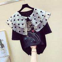 kızlar için güzel üstler toptan satış-Kore Tarzı Yeni Tatlılık Dalga Nokta Ekran Bebek Yaka T-shirt Kadın Gevşek Işlemeli Güzel Kız Yaz Tişörtlerin T Tops