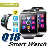 telefones inteligentes de tela grande venda por atacado-Bluetooth smart watch homens q18 com tela de toque grande apoio da bateria tf cartão sim câmera para android phone smartwatch top