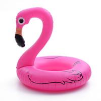 anillo de salvavidas de juguete al por mayor-Flotadores inflables Tubos Inflado Flamingo Anillo de natación Suministros de agua Monte el juguete Cisne Boya de vida Historieta linda Popular