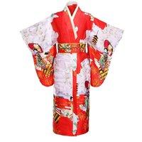 ingrosso kimono giapponese-Kimono tradizionale da donna giapponese stampato Yukata Bath Robe abito da sera vintage da ballo abito da sera con regalo Obi Lady taglia unica