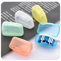 claro portaescobillas al por mayor-Cepillo portátil cepillo de dientes proteger cubrir titular de la cubierta mini ordenado sano creativo cepillo de dientes hogar cepillo para el polvo claro