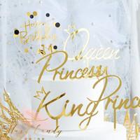 königin party liefert großhandel-Bling King Queen Cake Topper Fairy Hand schreiben Brief Dekoration alles Gute zum Geburtstag zum Valentinstag Party Supplies süße Geschenke