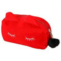 roter stiftkarikatur großhandel-Tragbare Cartoon-Muster Kosmetiktasche Make-up Taschen Stift Bleistift Beutel Fall rot