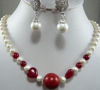 weiße edelsteine großhandel-Frauen Hochzeit 7-8MM White Pearl Gem Halskette Shell Ohrring Set Silber-Schmuck Brinco Hochzeit echte Silber-Schmuck