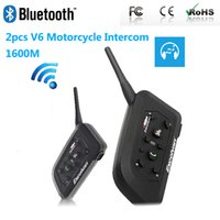 Wholesale bluetooth intercom headset for helmet resale online - Paired V6 Bluetooth Motorcycle Intercom BT Multi Interphone Wireless Headphones Helmet Headset Accessories M for Riders