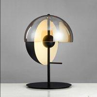 ferforje masa lambaları yatak odası toptan satış-İskandinav postmodern tasarımcı ferforje villa yatak odası başucu masa çalışması yaratıcı yuvarlak masa lambası AC 90-265V