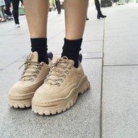 schuhe frau fersen china groihandel-Art und Weise Frauen starke alleinige schnüren sich oben Muffin Creepers-Plattform-Schuh-runde Zehe Black European China Elevator Harajuku Platform Schuhe