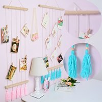 Wholesale Decoration Home Hemp Rope with Clips Nordic Style Kids Decoration Photography Props Postcard Display