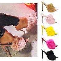 sarı siyah yüksek topuklu toptan satış-Yeni varış lüks tavşan kürk yüksek topuklu sandalet terlik büyük boy 35-43 11 cm 5 renkler nedensel yaz ayakkabı stiletto topuk pompalar