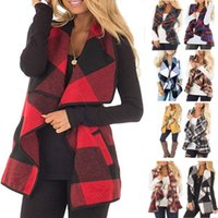 ceket dhl toptan satış-Yeni Kadınlar Ekose Hırka Cep Yelek Coat Yaka Düzensiz Kolsuz Ceket Bluz Dış Giyim Yelek 9Colors DHL HH9-2429