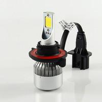 kit phare 24v 12v achat en gros de-La voiture automatique de la puce 72w de la puce Cob de la tache 72v de 12v a mené la lumière avant des ampoules 7600lm 6000k de conversion de kit de phare 12v / 24v pour Lexus Vw